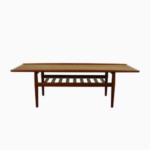 Tavolino da caffè a forma di tavola da surf di Grete Jalk per Poul Jeppesens Møbelfabrik, anni '60