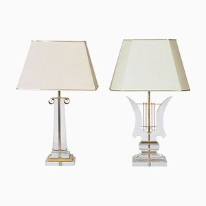 Plexiglas Table Lamps, 1970s, Set of 2