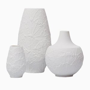 Bisque Leaf Pattern Vases from H & Co. Heinrich, Set of 3