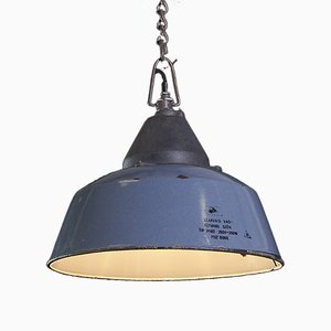 Lampada da soffitto vintage industriale smaltata blu