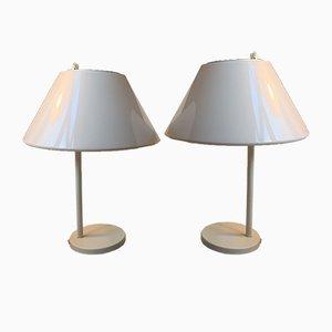 Weiße Minimalistische Dänische Combi Tischlampen von Per Iversen für Louis Poulsen, 1980er, 2er Set