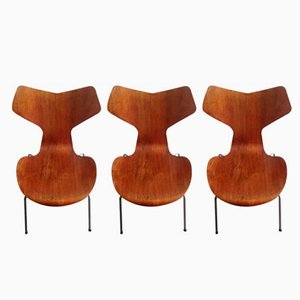 Model 3130 Grand Prix Chairs in Teak by Arne Jacobsen for Fritz Hansen, 1967, Set of 3