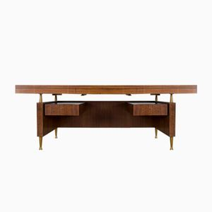 Large Vintage Walnut and Brass Desk