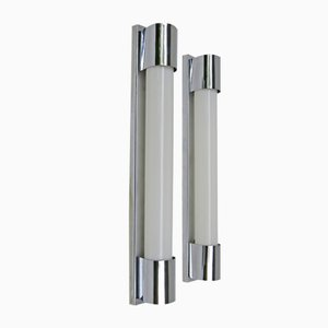 Art Deco Chrome-Plated Wall Sconces, Set of 2