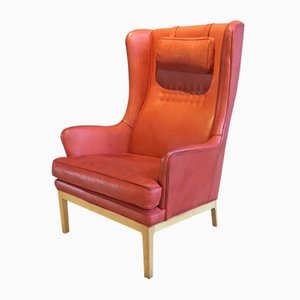 Vintage Wingback Chair in Leather by Arne Norell