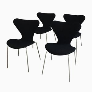Vintage 3107 Chairs by Arne Jacobsen for Fritz Hansen, Set of 4