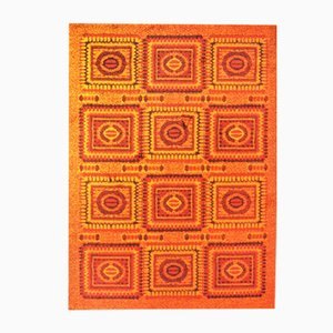 Orange Mosaic Carpet, 1970s