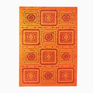 Tappeto a mosaico arancione, anni '70