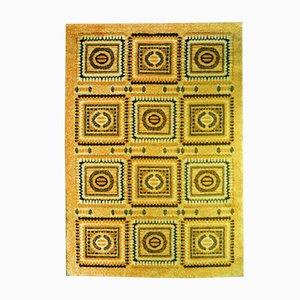 Alfombra Hippie de mosaico amarillo, años 70