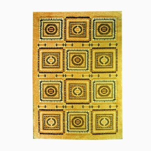 Yellow Hippie Mosaic Carpet, 1970s