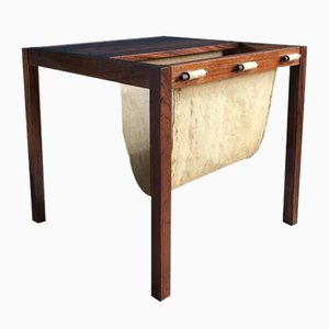 Vintage Danish Rosewood Side Table with Magazine Rack, 1960s