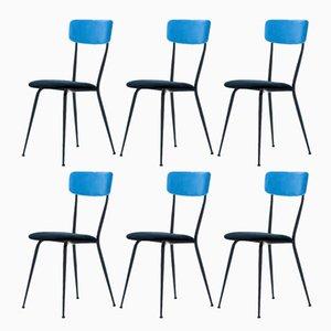 Italienische Stühle aus Eisen & Samt, 1950er, 6er Set