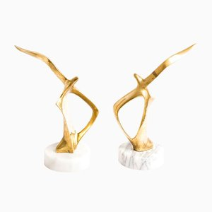 Vintage Brass and Marble Bookends with Zoomorphic Bird Sculptures, Set of 2