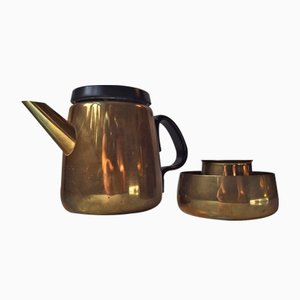 Danish Mid-Century Brass Tea Set by Henning Koppel for Georg Jensen