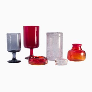 Vintage Glass Vessels by Erik Höglund for Boda, 1960s, Set of 6