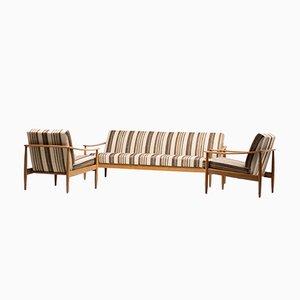 Juego de salón escandinavo Mid-Century con sofá plegable