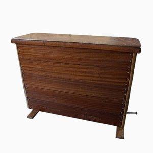 Banco cajón de gimnasio de madera y cuero, años 40