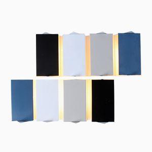 7013 Multicolored Metal Wall Sconces by J. J. M. Hoogervorst for Anvia, 1950s, Set of 8