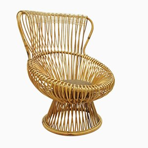 Italian Margherita Wicker Lounge Chair by Franco Albini for Vittorio Bonacina, 1950s