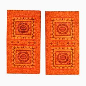 Kleine Orangenfarbene Mosaik Teppiche, 1970er, 2er Set