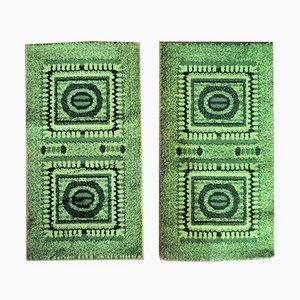 Grüne Kleine Mosaik Teppiche, 1970er, 2er Set