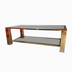 Gold Plated Rectangular Coffee Table, 1980s