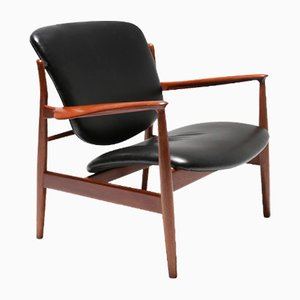FD 136 Teak & Leather Armchair by Finn Juhl for France & Daverkosen, 1950s