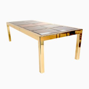 Mid-Century Extendable Brass Dining Table from Mastercraft