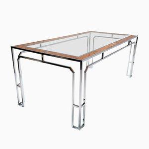 Mesa de comedor de vidrio y latón, años 70