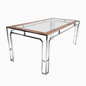 Tavolo da pranzo in metallo cromato e vetro, anni '70