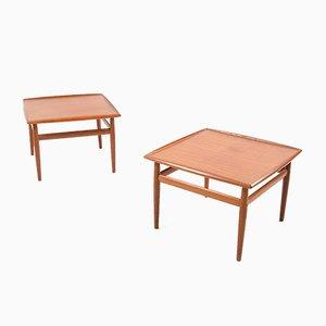 Tables Basses en Teck Carrées par Grete Jalk pour Glostrup, Set de 2