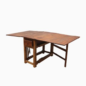 Antique Swedish Drop-Leaf Oak Table