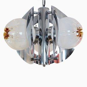 Lámpara de araña vintage geométrica de cromo y vidrio escarchado de A.V. Mazzega