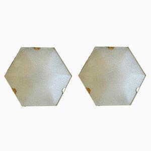 Appliques Murales Hexagonales de Stilnovo, 1950s, Set de 2