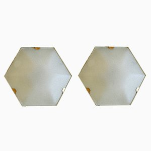 Lámparas de pared hexagonales de Stilnovo, años 50. Juego de 2