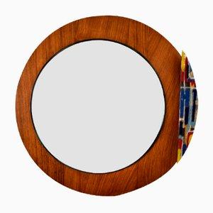 Mid-Century Round Teak Mirror by Vetri