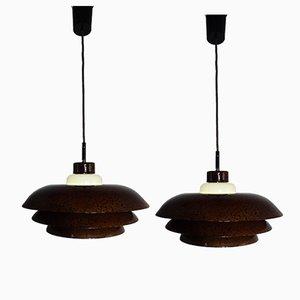 Lampes en Cuivre Émaillé, 1940s, Set de 2
