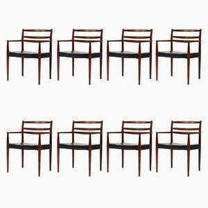 Dänische Esszimmerstühle, 1960er, 8er Set