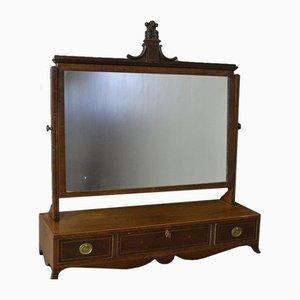 Miroir Antique Géorgien Orientable avec Incrustations en Acajou