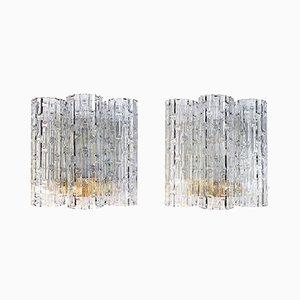 Apliques de pared con tubos grandes de cristal de Murano de Doria Leuchten, años 60. Juego de 2