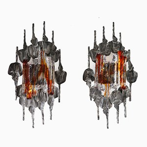 Vintage Brutalist Wall Sconces from A & E Design, 1960s, Set of 2