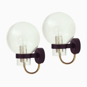 German Glass & Brass Wall Lights from Glashütte Limburg, 1960s, Set of 2