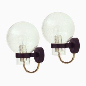 Lampade da parete in vetro e ottone di Glashütte Limburg, Germania, anni '60, set di 2