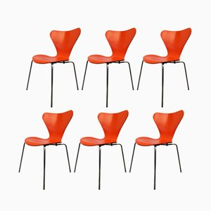 Chaises 3107 Vintage par Arne Jacobsen pour Fritz Hansen, Set de 6