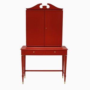 Mid-Century Scarlet Lacquered Architectural Bar Cabinet by Paolo Buffa
