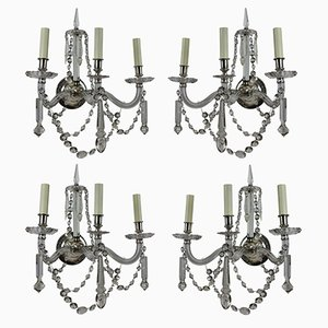 Large English Cut Glass Wall Lights, 1870s, Set of 4