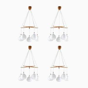 Lampadari Mid-Century di Uno & Osten Kristiansson per Luxus, Svezia, anni '50, set di 4