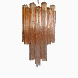 Large Pink Tronchi Chandelier by Toni Zuccheri for Venini, 1960s