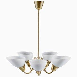 Lámpara de araña sueca de latón y vidrio, años 50