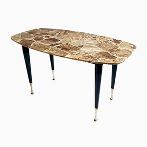 Italian Mid-Century Coffee Table in Onyx and Brass